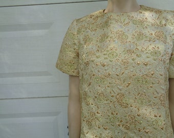 Vintage 50s Brocade hand made blouse size large by jeansvintagecloset on Etsy