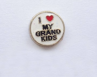 I Love My Grandkids Floating Charm for Glass Memory Locket FC45 - 1 Charm