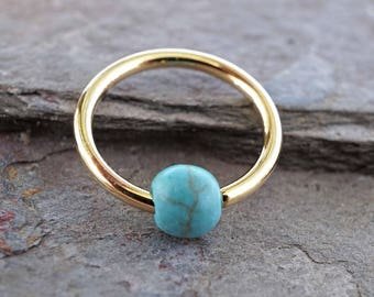 16 Gauge CBR Gold Cartilage Hoop Earring Turquoise Stone Tragus Hoop Helix Conch