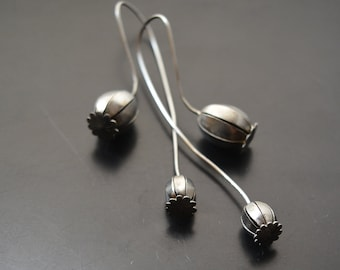 Earrings made of stainless steel poppies