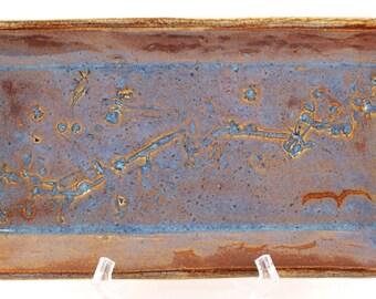 Hand Made Stoneware Pottery Tray Rectangle Impressed Plant Design Wine Blue Cream