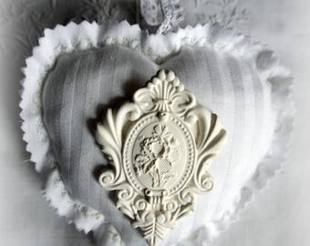 French antique linen scented heart door pillow