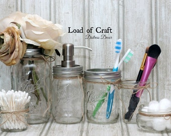 6 Piece Ball Mason Jar Bathroom Set- Clear or Brushed Matte Finish - Bathroom Set Home Decor Housewarming Gift Shower Gift Birthday