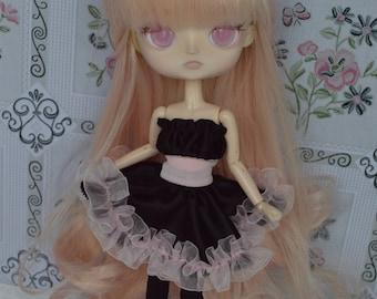 Dress black and pale pink Thyam [Dal = stock & obitsu 21cm]