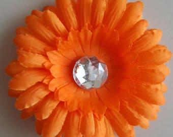 set of 2 large appliques flowers orange 10cm