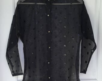 Women's vintage 80's black sheer polkadot long sleeve button down blouse size small