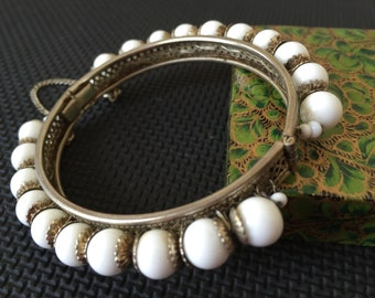 Miriam Haskell Signed White Beaded Hinged Bracelet With Safety Chain