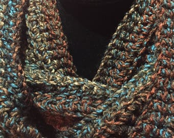 Women's Crochet Infinity Scarf, Woodlands Scarf, Circle Scarf, Ribbed Scarf