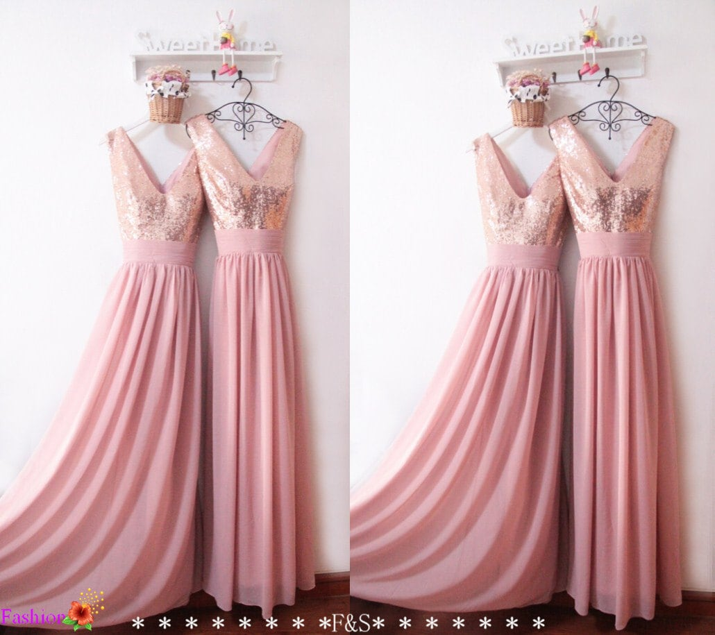 Bridesmaid dress 2017sexy sequin prom dresscustom bridesmaid for Pink and gold wedding dress