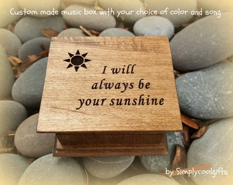 music box, wooden music box, custom music box, sunshine, personalized music box, music box shop, you are my sunshine, always your sunshine
