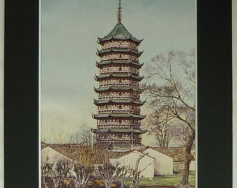 Antique Print of the Beisi Pagoda at Suzhou Ming Dynasty architecture picture, Chinese architectural art - Asian Gift - For Him - Asia Decor