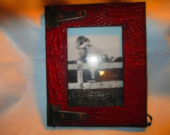 "Custom Leather Hand Carved photo frame for a 5"" X 7"" photo of your choice."