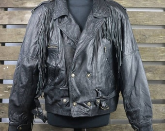 Vintage 1980's Black (Womens/Mens) Fringe Leather Jacket / Motorcycle Jacket