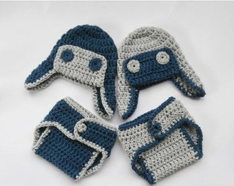 ON SALE 10% SALE Newborn Twin Outfits - Baby Boy Twin Crochet Outfits - Crochet Hats and Diaper Covers for Twins - Crochet Newborn Photo Pro