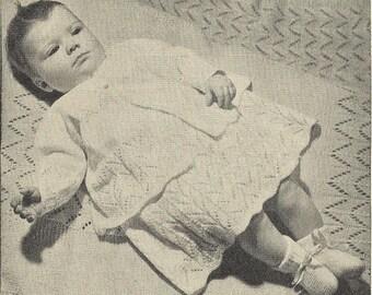PDF Knitting Pattern, 4Ply, Diana Baby Matinee Coat, Dress, Bonnet, Bootees, Mittens, Shawl