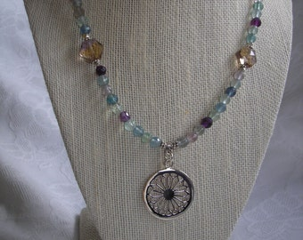 Rainbow Fluorite and Sterling Silver Rose Window Necklace and Earring Set