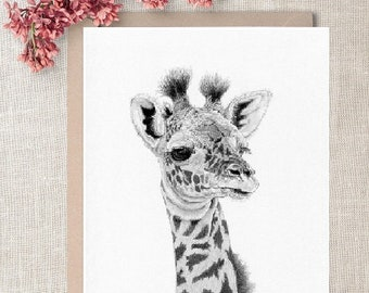GIRAFFE baby/calf (4) safari africa zoo large Greetings Card, Note Card, Notelet - A5 size with envelope -blank inside - Art Print available