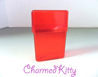Vintage 40s Red Lucite Case , Cigarette or Card Case for Shorty Cigs - on sale