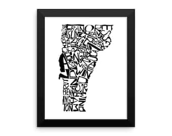 Vermont typography map art FRAMED print customizable personalized state poster custom wall decor engagement wedding housewarming gift