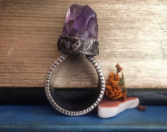 Sterling Silver Chunky Tribal Organic Raw Amethyst Point Ring - 1 Of A Kind/Statement/Bold/Gypsy/Witch/Boho, Medium Crystal Ring - US Size 8