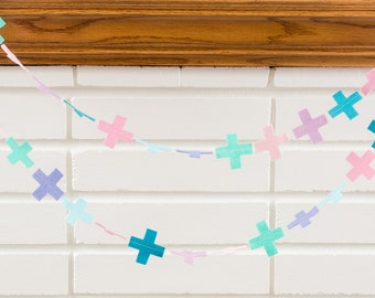 mermaid (Swiss cross) -- felt garland // pink mint teal lilac lavender, Swiss cross garland, girl nursery, birthday party, baby shower