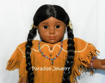 Doll Jewelry, 18 inch American Doll, Cross Pendant Necklace American Girl, St Kateri Doll Necklace, Saint Doll Accessories, Cross Necklace