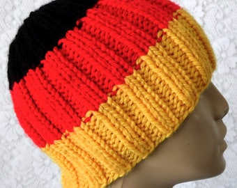 Gold red black ribbed beanie hat, skull cap, striped hat, mens womens knit hat, toque, winter hat, beanie hat, color block hat, ski toboggan