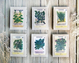 Vintage Seed Packets on Small Natural Linen Canvas, Farm House Chic Collection