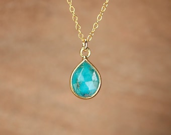 Turquoise necklace - teardrop necklace - solitaire necklace - boho necklace - gold bezel necklace