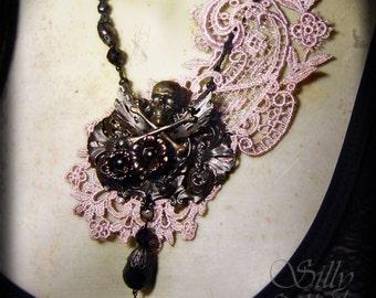 necklace - NOCTURNAL GARDEN - gothic, ooak, victorian, asymmetrical, solanum, dark romance