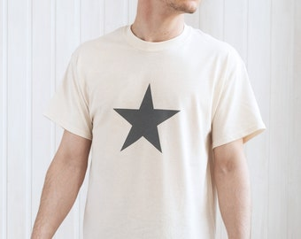 Star T Shirt - Minimalist Abstract Geometric Streetwear Skater Fashion Retro Graphic Design Hand Screen Printed Tee or Ringer T-Shirt Top