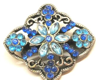 Blue Brooch - Vintage, Silver Tone, Filigree, Blue Rhinestones, Floral Pendant