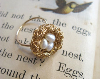 Bird Nest Ring, Goldfill, Freshwater Pearls, Adjustable, Choose 1-5 eggs in the Nest.