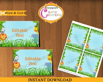 Jungle Safari Food Tent Cards - Jungle Animals Food Labels - Jungle Birthday Party Decor - Editable Text - PRINTABLE - INSTANT DOWNLOAD