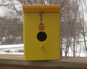 Sun Yellow Marigold Handmade Wood Hanging Outdoor Birdhouse