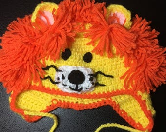 Crochet hat for 0-6 months, Lion, great gift for boy or girl