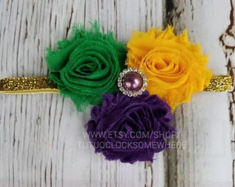 Customizable Adult And Child Mardi Gras Headband, Mardi Gras Accessory, Mardi Gras Tutu Dress, Mardi Gras Dress, Purple Green Gold Headband