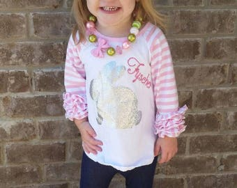 Easter bunny shirts,Toddler-girls Ruffled raglans, Girls Bunny raglans , Toddler girls Bunny shirts with ruffled sleeves,ready to ship