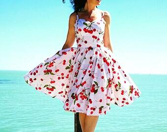 Pinup dress 'Joy dress in Cherries' PLUS Size AVAILABLE, rockabilly dress,