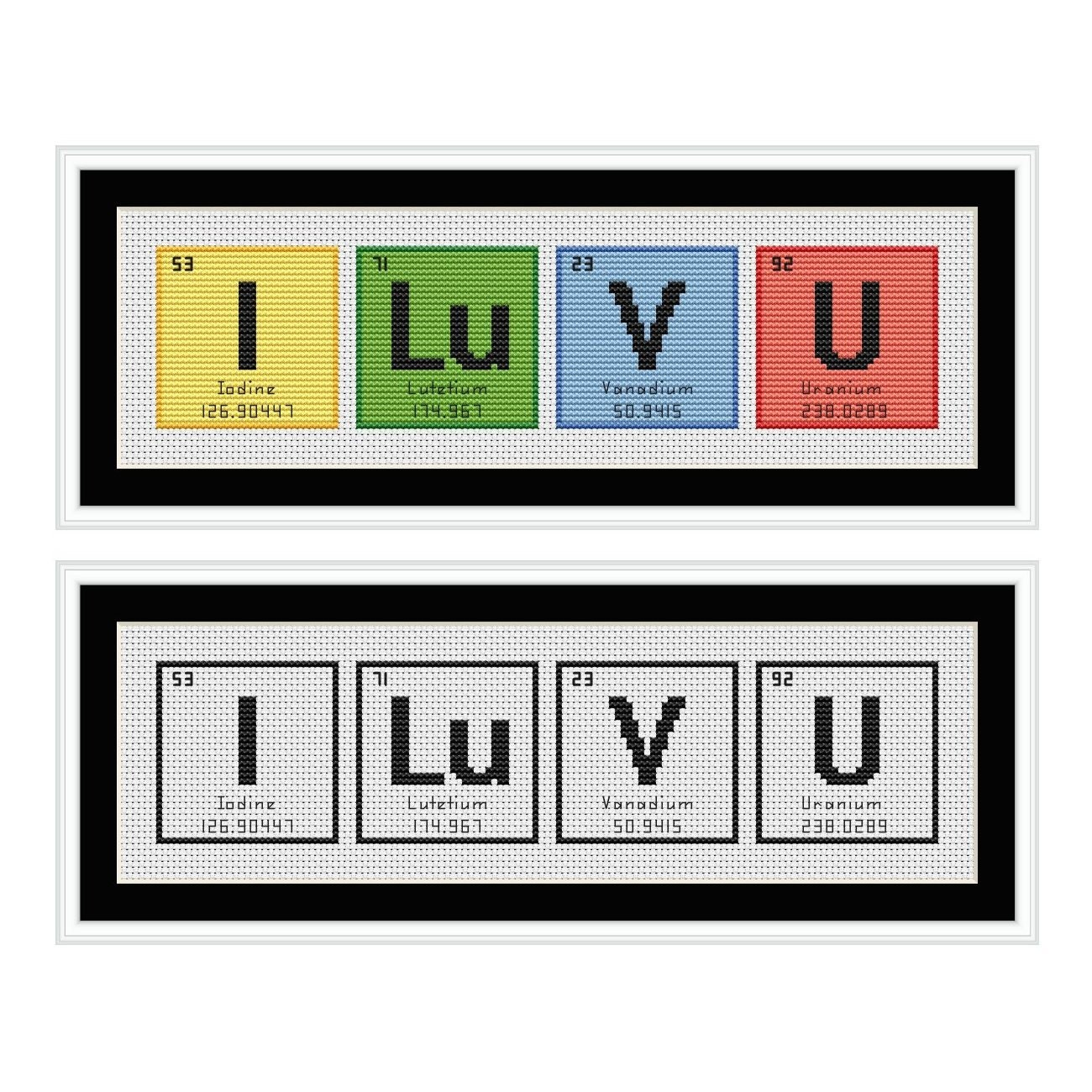 I love you periodic table chemical element cross stitch chart zoom urtaz Gallery