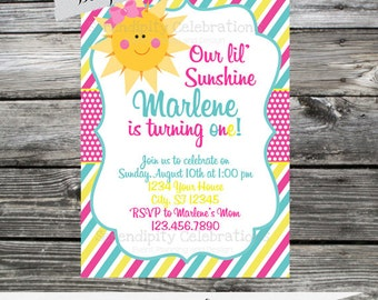 12 Printed Invitations By Serendipity Celebrations -You Are My Sunshine Inspired -Birthday -Baby Shower -Printing Service