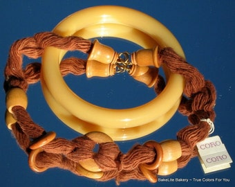Rare Coro Vintage Signed Necklace Chunky Lucite Bangle Demi Parure Mid Century Bakelite Era Orange Sienna Wood Unique Tube Caramel Bracelet