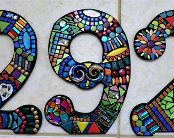 """MOSAIC HOUSE NUMBERS - 14"""" Tall - Customizable - Unique Mixed Media  - Order 14"""" Numbers From This Listing / Only 8.00 Shipping on This Size"""