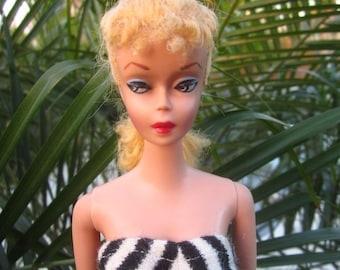 Vintage Mattel Ponytail Barbie Doll #4 (Solid TM Body) with Eyes & Brows of a First Issue #1 ~ Beautiful Blonde