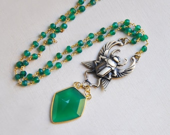 Scarab Necklace, Winged Scarab Necklace, Scarab Beetle Necklace, Beetle Necklace, Amulet Necklace, Egyptian Necklace, Green Onyx Necklace