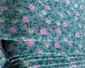 Cotton Fabric green pink yellow small Roses Vintage style fabric Cotton Fabric Kids Fabric Europe Design Kids Textile