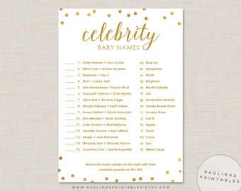 Celebrity Baby Name Game, Pink and Gold Shower Game, Baby Shower Games, Gold Stars, Gold Baby Shower, Celebrity Baby Names, Gold Glitter