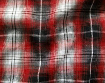 Cotton fabric checkered V6758 in white-grey-black-red