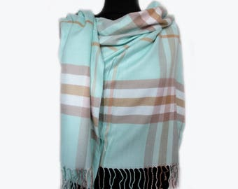 Mint Plaid Scarf, Pashmina Scarf, Checkered Blanket Scarf, Autumn Scarf, Turquoise Wrap Shawl, Blue Fall Scarf, Women's Scarves
