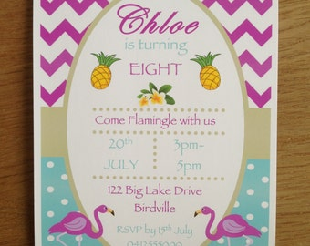 Flamingo & Pineapple Invitations ~ For Birthday, Bridal Shower, Baby Shower, Birthday, Engagement, Tropical party